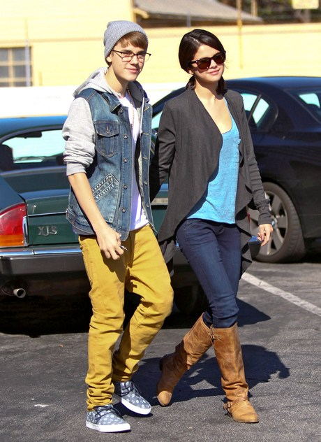 Justin and Selena Head Back to the Batmobile after Breakfast
