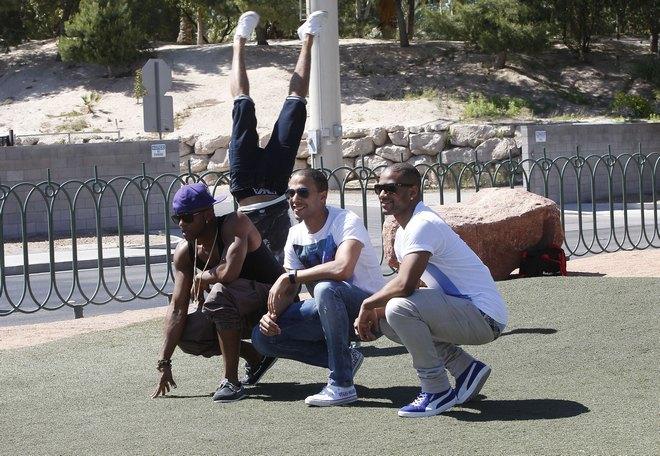 JLS Posing In Front Of The Las Vegas Sign