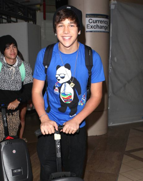 Austin Mahone Arriving On A Flight At LAX