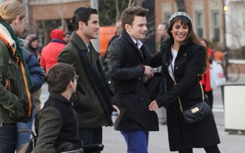 'Glee' Films At Washington Square Park In NYC