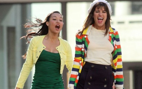 "Stars On The Set Of ""Glee"" At The Lincoln Center Fountain"