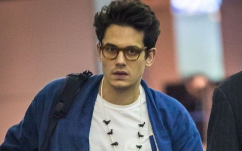 Exclusive... John Mayer Arriving On A Flight In New York City