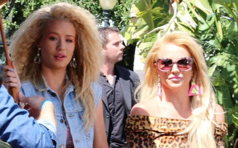 Britney Spears in a low-cut jeans on set of new music video with frizzy-haired Iggy Azalea in Studio City **NO DAILY MAIL SALES**