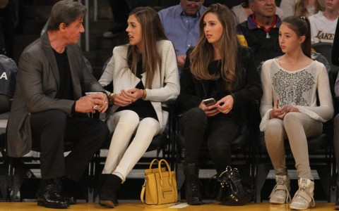 Sylvester Stallone and the Stallone Clan at the Lakers game